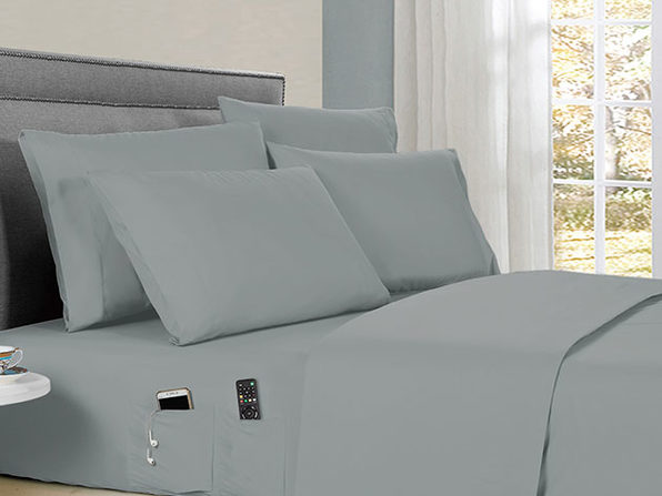 Kathy Ireland 6-Piece Smart Sheet Set (Silver)