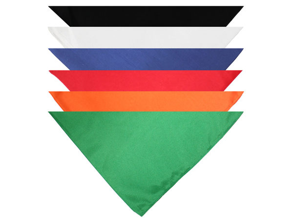 Pack of 8 Triangle Bandanas - Solid Colors and Polyester - 30 in x 20 in x 20 in - Black