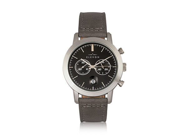 Elevon Langley Chronograph Leather Band Watch (Black/Gray)
