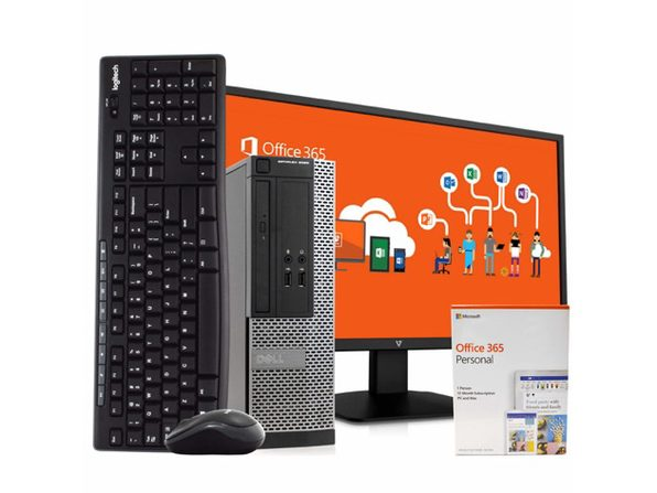 "Dell 3020 Desktop PC, Intel i5, 8GB RAM, 500GB HDD, Windows 10 Pro, Microsoft Office 365 Personal, New 23.6"" FHD V7 LED Monitor, New 16GB Flash Drive, Wireless Keyboard & Mouse, WiFi (Renewed)"