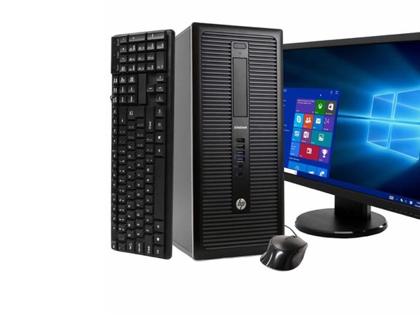 "HP EliteDesk 800 G1 Tower PC, 3.2GHz Intel i5 Quad Core Gen 4, 8GB RAM, 250GB SATA HD, Windows 10 Professional 64 bit, 22"" Widescreen Screen (Renewed)"