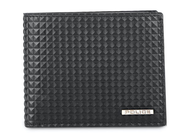 POLICE Men's Slim Bifold Leather Coin Wallet (Black) + Leather Belt (Black)