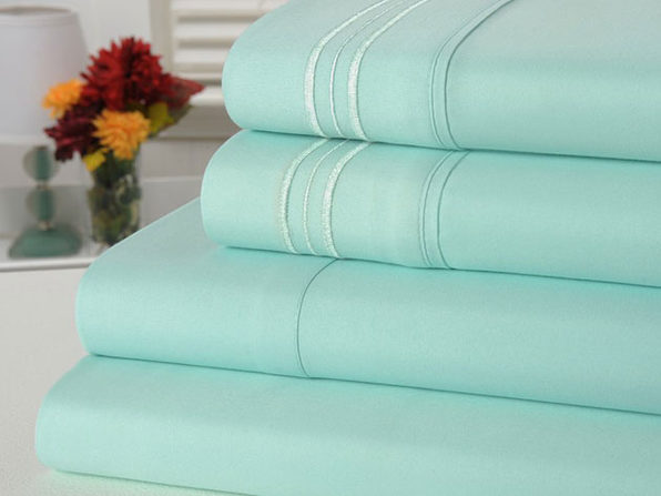 Bamboo Comfort 4 Piece Solid Sheet Set -Queen- Aqua - Product Image