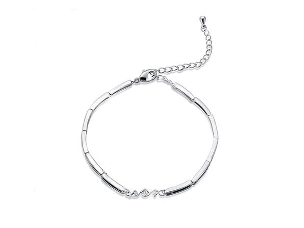 Natural Diamond Multilink White Gold-Plated Bracelet - Product Image