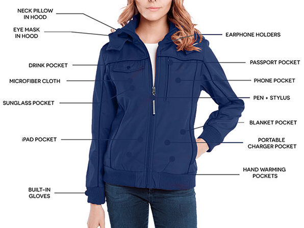 BauBax Women's Bomber Jacket (Blue/Large)