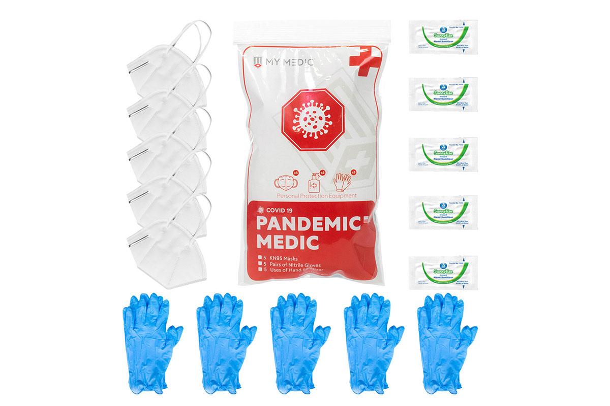 Face masks, nitrile gloves, and hand sanitizing wipes