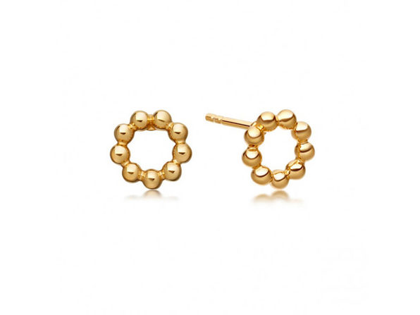 Homvare Women's 925 Sterling Silver Beaded Stud Earrings - Gold