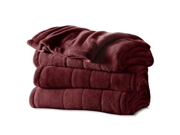 Sunbeam Heated Electric Blanket Channeled Velvet Plush Twin Size Garnet - Garnet