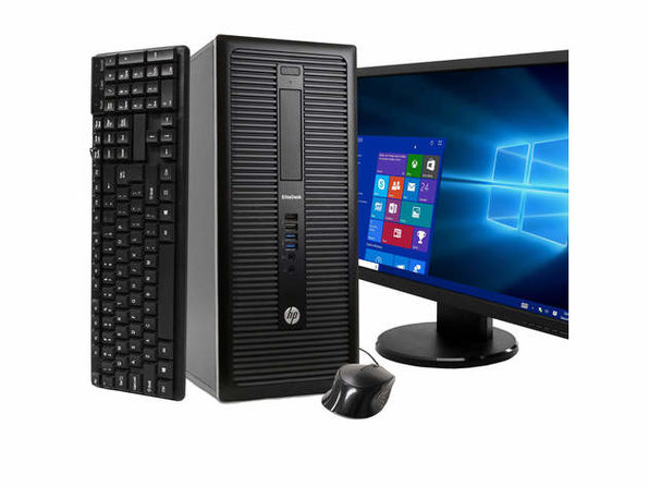 "HP EliteDesk 800 G1 Tower PC, 3.2GHz Intel i5 Quad Core Gen 4, 16GB RAM, 2TB SATA HD, Windows 10 Professional 64 bit, BRAND NEW 24"" Screen (Renewed)"
