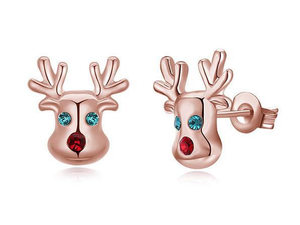 """Rudolf, The Reindeer"" Stud Earrings with Red & Green Swarovski"