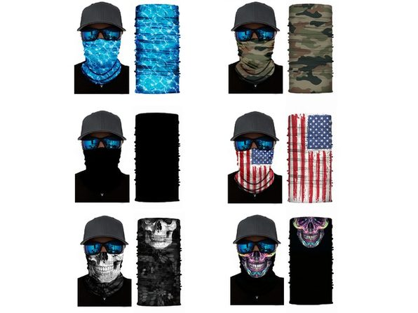 Pack of 3 Face Covering Neck Gaiter Elastic and Microfiber Breathable Tube Neck Warmer - US Flag