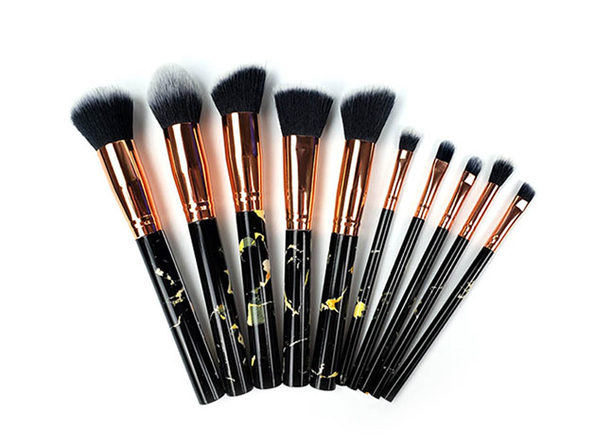 La Canica 10-In-1 Makeup Brush Set with Travel-Friendly Container (Black)