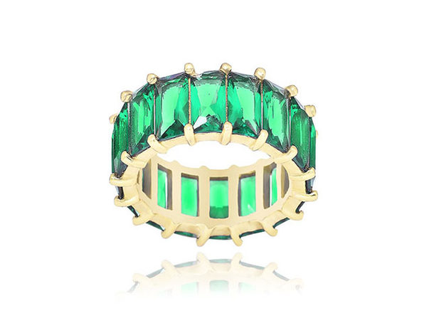 14K Gold Plated Green Eternity Ring