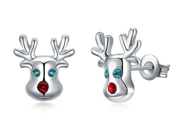 """Rudolf, The Reindeer"" Stud Earrings with Red & Green Swarovski (White Gold)"