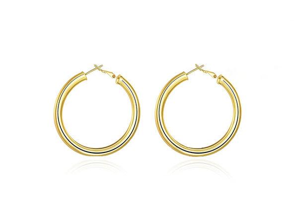 """2"""" 18K Gold Plated Tube Hoop Earrings (Gold)"""