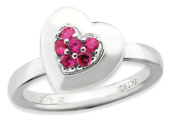 Synthetic Lab Created Ruby Heart Promise Ring in Sterling Silver 1/4 Carat (ctw) - 6