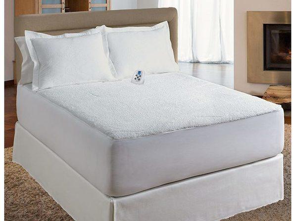 Serta Sherpa Electric Heated Warming Mattress Pad - White