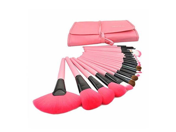 24-Piece Premium Makeup Brush Set (Pink)