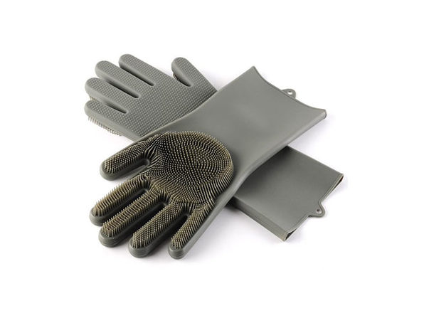 Silicone Dishwashing Gloves with Scrubbers (Grey)