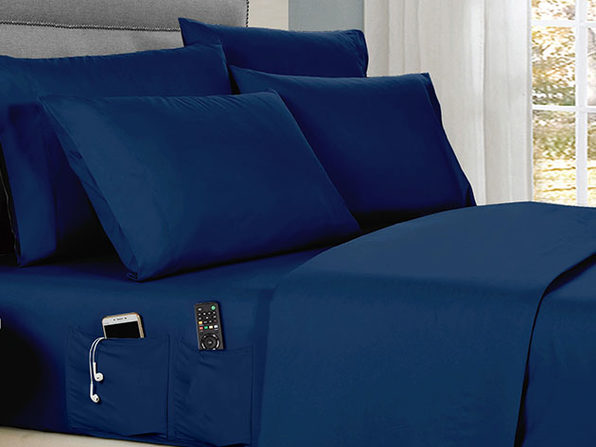 Kathy Ireland 6-Piece Smart Sheet Set (Navy/King)