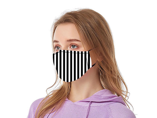 Reusable Ear Loop Face Mask 2-Pack Black & White Stripes - Product Image