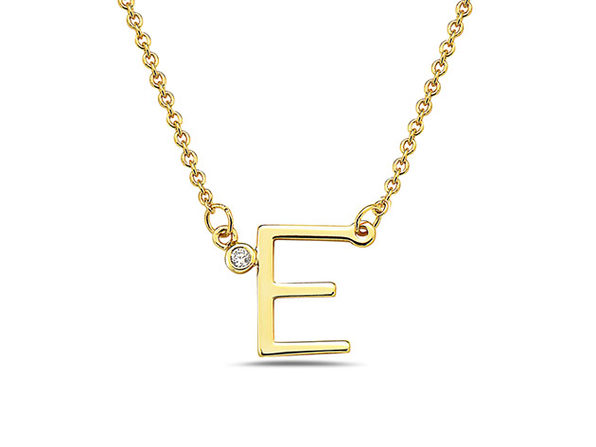 18K Gold Plated CZ Initial Necklaces - E - Product Image