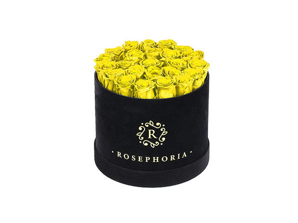 24 Roses Round Box - Yellow - Product Image