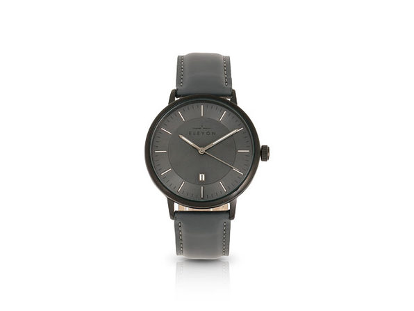 Elevon Vin Leather-Band Watch with Date Display