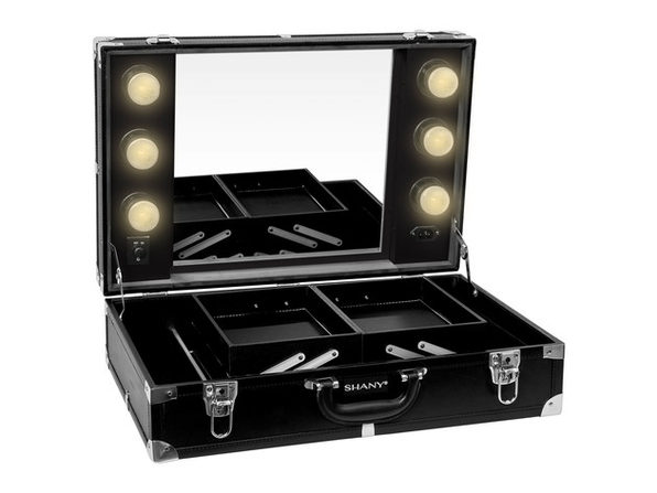 SHANY Studio-To-Go Tabletop Mirror Makeup Station – Makeup Case with Dimmable LED Lights Included and Carrying Handle - BLACK
