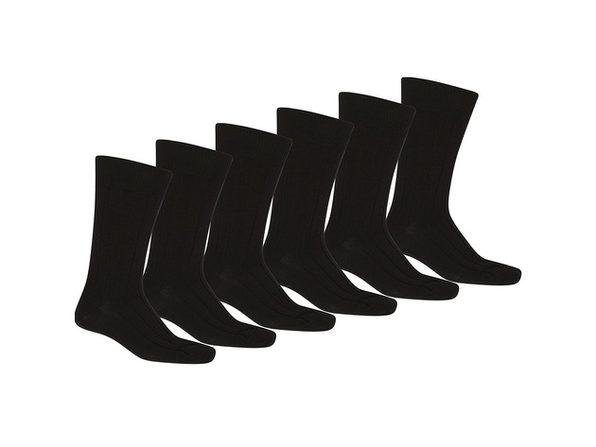 25 Pack of Balec Men Black Solid Plain Dress Socks - Black