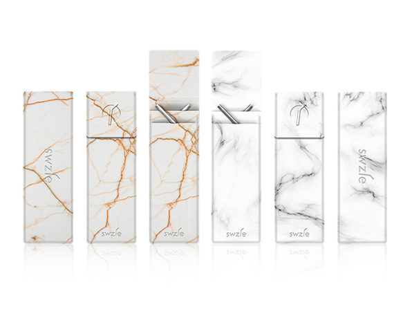 SWZLE Sustainable Straws & Case: 2-Pack (Ibiza Marble/Spanish Gold Marble)