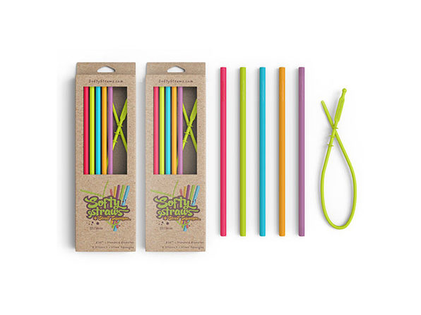 Softy Straws Assorted Colors Slender Silicone Reusable Straws: 10-Pack