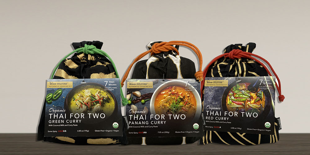 """Three packages of """"Thai for Two"""" meals."""