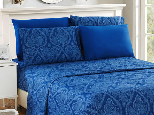 Paisley Sheet 6 Pcs Navy Blue - Queen - Product Image