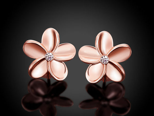 18K Rose Gold Flower Stud Earrings with Swarovski Crystals