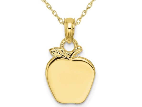 10K Yellow Gold Polished Apple Charm Pendant Necklace with Chain