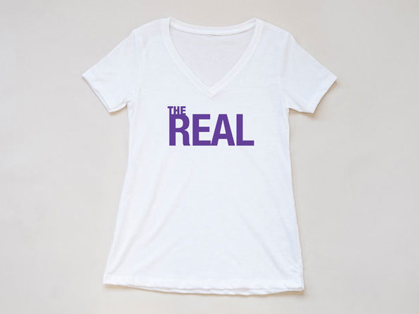 'The Real' White V-Neck T-Shirt