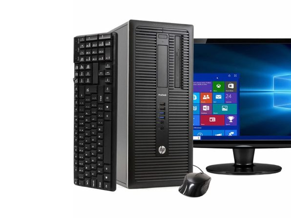 "HP ProDesk 600G1 Tower PC, 3.2GHz Intel i5 Quad Core Gen 4, 8GB RAM, 240GB SSD, Windows 10 Home 64 bit, 22"" Screen (Renewed)"