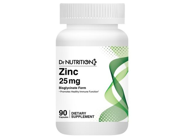 Dr Nutrition 360 Zinc 25 mg - Promotes Healthy Immune Function, 90 Capsules, 3 Months Supply Dietary Supplement