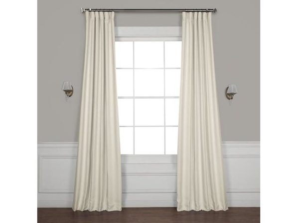Faux Linen Blackout Unlined Single Curtain Panel, Size: 50 Inch x 108 Inch, White