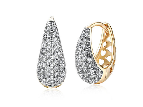 Swarovski Micro-Pav'e Pear Shaped Teardrop Huggie Earrings