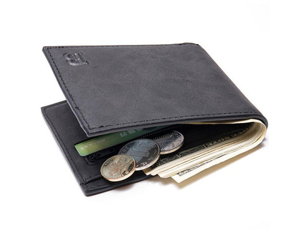 Baborry Men's Faux-Leather Fashion Wallet Black - Product Image