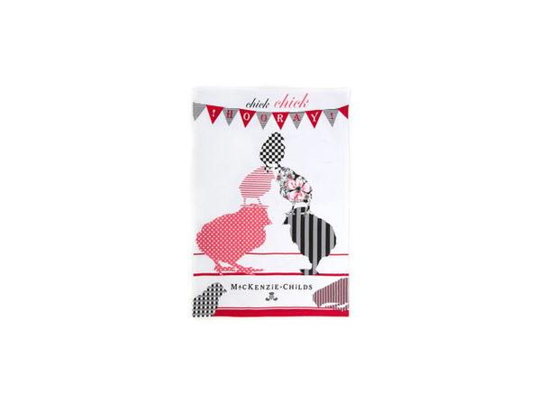 MacKenzie-Childs 100% Cotton Chick Chick Hooray Dish Towel - Product Image