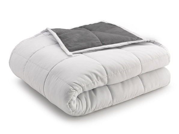 Weighted Anti-Anxiety Blanket (Grey/White)