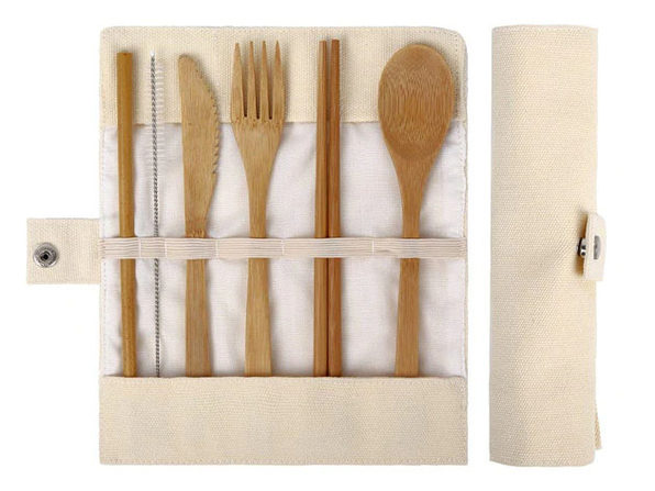 Bamboo Travel Cutlery Set Beige - Product Image