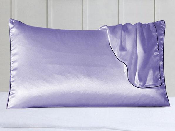 100% Silk Pillowcase Set With Trim Lavender - Product Image