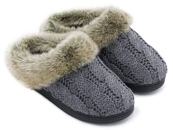 Women's Soft Yarn Cable Knitted Memory Foam Slippers (Gray, Size 9-10)