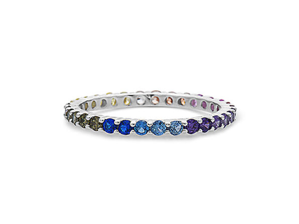 STERLING SILVER MULTICOLORED GEMSTONES ETERNITY BAND RING - Size 6 - Product Image