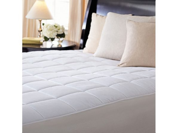 Sunbeam Premium Quilted Electric Heated Warming Mattress Pad - Full Size -  Auto Shut Off 10 Heat Settings - White