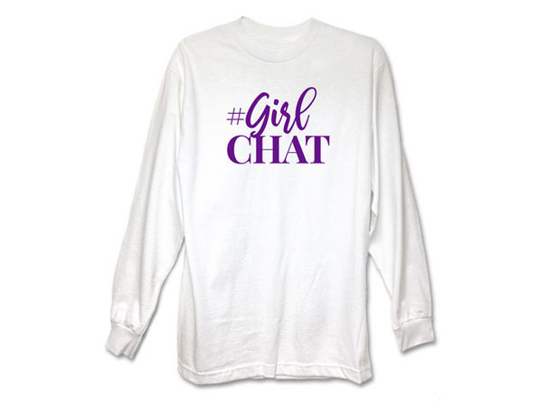Girl Chat Logo White Long Sleeve Shirt-S - Product Image